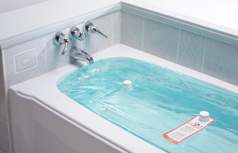 bathtub in use