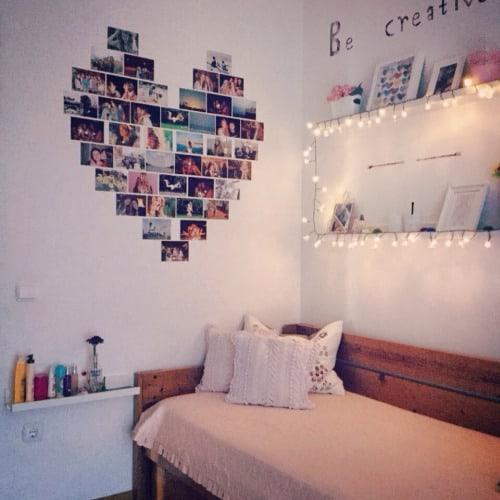 wall with polaroid photos