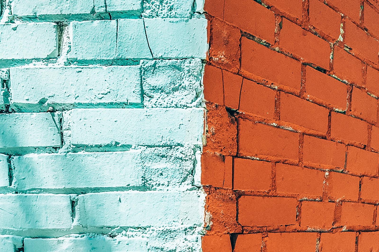 Coated brick walls