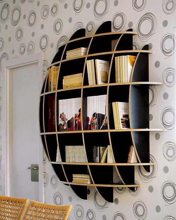 vibrant wooden shelves
