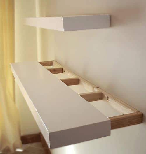 wood shelves with invisible grips