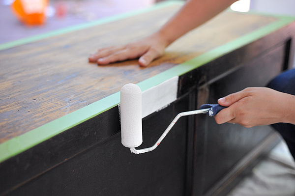 Paint the outside wooden trunk